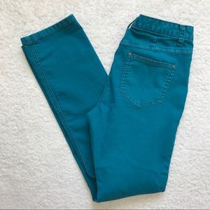 Free People High Rise Straight Leg Teal Jeans